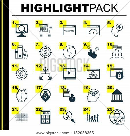 Set Of 25 Universal Editable Icons For Education, Marketing And Seo Topics. Includes Icons Such As M