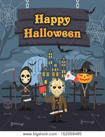 Vector Illustration, Illustration Halloween Pumpkin Maniac Death, Format EPS 8