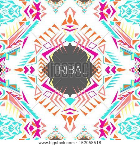 Vector geometric colorful background. Card template for business and invitation. Ethnic tribal aztec style. Modern ethno ikat pattern