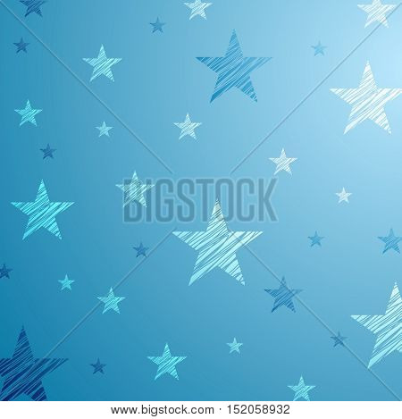 Bright blue starry abstract background. Vector design