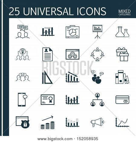 Set Of 25 Universal Editable Icons For Education, Advertising And Marketing Topics. Includes Icons S