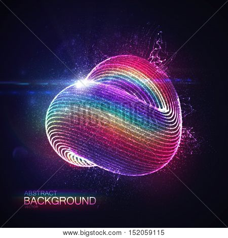 3D abstract loop shape of rainbow illuminated particles with lens flare optical light effect. Futuristic vector illustration. Technology or Physics vector concept