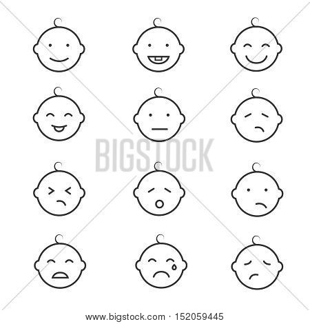 Baby smile baby face baby emoticons vector icons. Child laugh and cry illustration