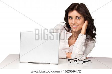 Businesswoman Sitting Behind The Desk Resting Head on Hand - Isolated