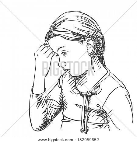 Sketch of beautiful young girl thinking, Hand drawn vector illustration