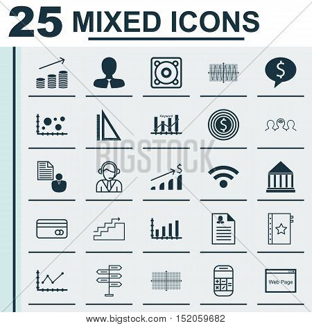 Set Of 25 Universal Editable Icons For Computer Hardware, Advertising And Project Management Topics.