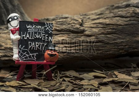 Mummy and pumpkin head jack standing on welcome halloween party board over forest background