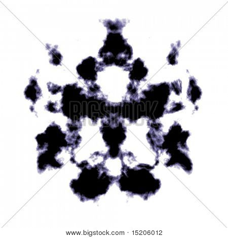 An illustration of a black and white Rorschach graphic