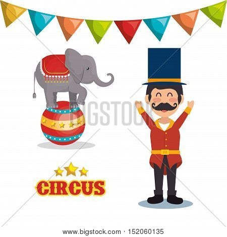 circus elephant and happy man festival show over white background. colorful design. vector illustration