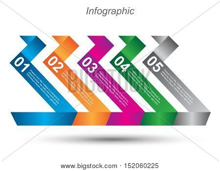 Info-graphic design template with paper tags. Idea to display ranking and statistics.