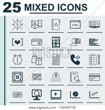 Set Of 25 Universal Editable Icons For Statistics, Travel And Marketing Topics. Includes Icons Such