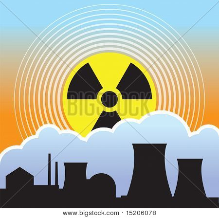 Nuclear sunset with radiation fallout