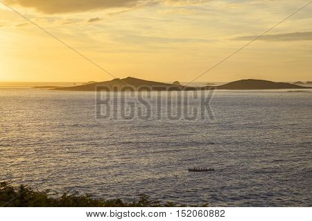 Gig rowers at St Mary's, Isles of Scilly, England