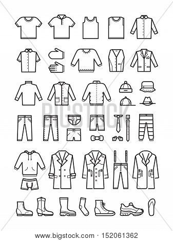 Mens clothing, male fashion line vector icons set. Man cloth, shoes and coat, hat and underwear illustration