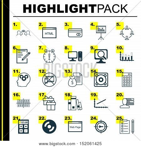 Set Of 25 Universal Editable Icons For Computer Hardware, Business Management And Statistics Topics.