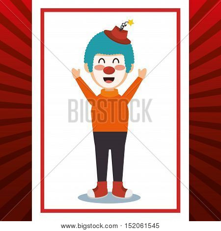 clown smiling cartoon circus character over red and white background. colorful design. vector illustration