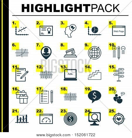 Set Of 25 Universal Editable Icons For Airport, Statistics And Education Topics. Includes Icons Such