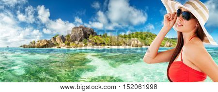 Beautiful young woman portrait, looking at tropical island and smiling. Travel and relaxation concept