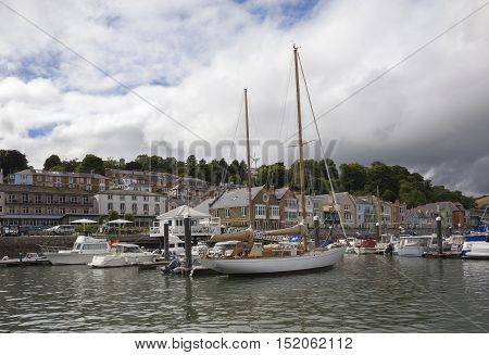 Yachts on the Dart Estuary, Dartmouth, Devon, England