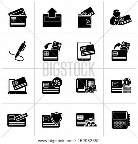 Black credit card, POS terminal and ATM icons - vector icon set