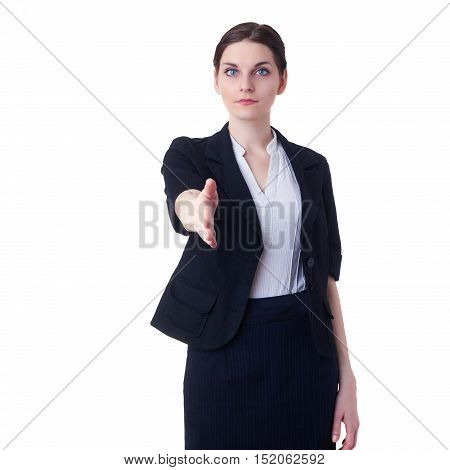Businesswoman standing over white isolated background, business, education, office, shake hand concept