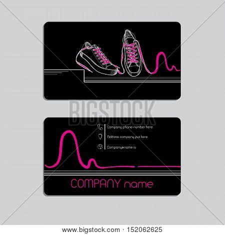 Vector illustration of Modern, hip-hop style black business card fo Sport shoes shop. Template card design, brochure, corporate identity, company name