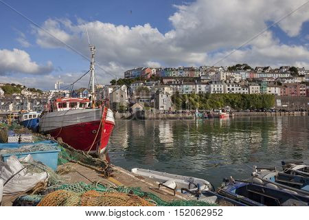 Fishing boats at Brixham harbour, Devon, England