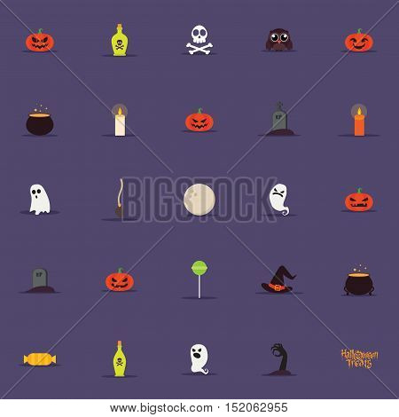 abstract cartoon halloween objects on a dark purple background