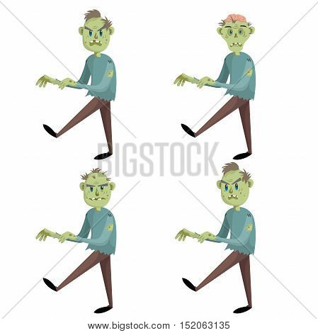 Cartoon walking zombies set. Trendy halloween party vector icons isolated on white background. Zombie with hair without hair and zombie with brain.
