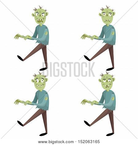 Cartoon walking zombies set. Trendy halloween party vector icons isolated on white background. Different emotions.