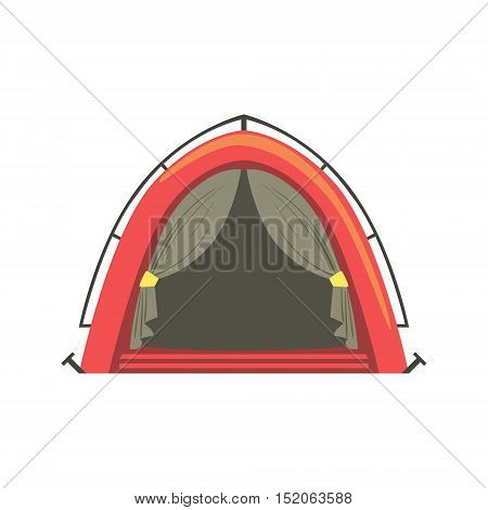Small Red Bright Color Tarpaulin Tent. Simple Childish Vector Illustration Isolated On White Background