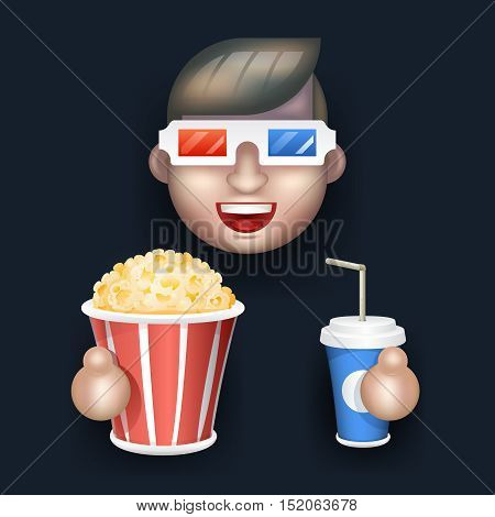 Cinema Glasses Big Popcorn Soda Water Male Guy Man Boy Character Realistic Cartoon Flat Design Vector illustration