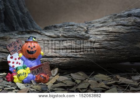 Pumpkin head jack with trick or treat board and candy over forest background