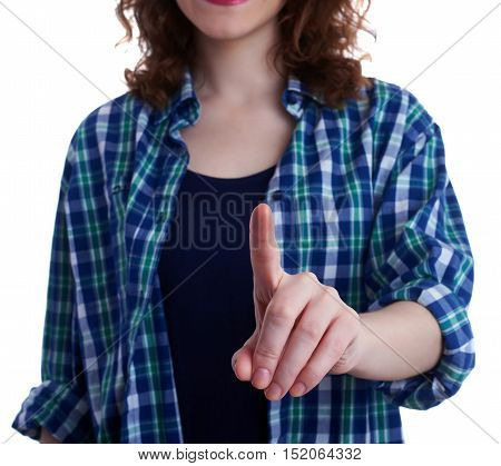 Young woman in casual clothes over white isolated background pointing, showing direction or pushing button, happy people concept