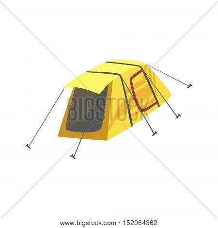 Small Yellow Bright Color Tarpaulin Tent. Simple Childish Vector Illustration Isolated On White Background