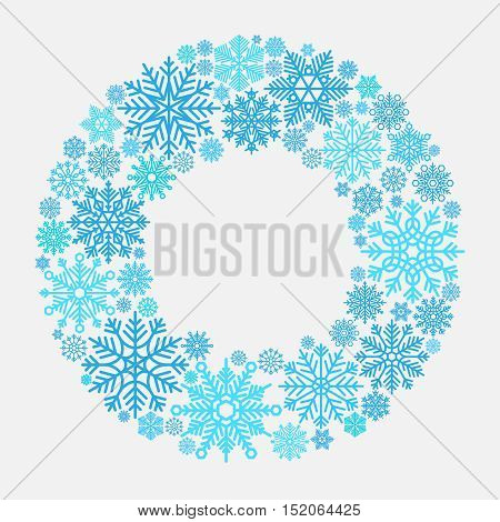 Snowflake wreath. Vector snowflakes frame isolated on white for xmas door invitation