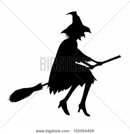 Black silhouette of old ugly witch isolated on white for Halloween design