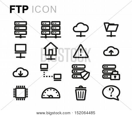 Vector black line ftp icons set on white background