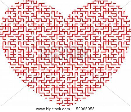 red heart in the form of an intricate maze on white background