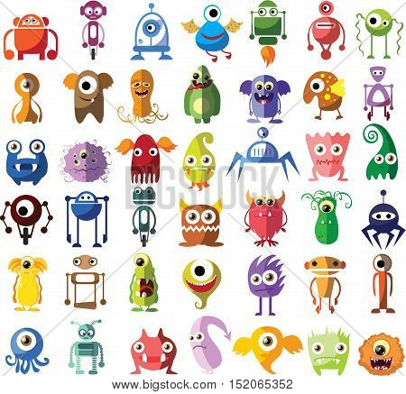 Large vector set of drawings of different characters isolated monsters, germs, bacteria