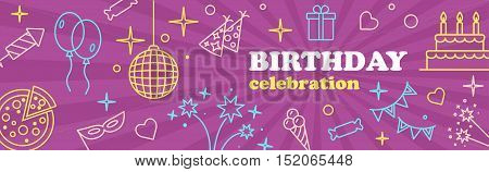 Happy Birthday Card. Kids birthday party banner. Poster to birthday celebration. Template design for Musical Party celebration.