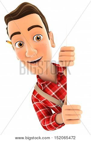 3d handyman peeping over blank wall illustration with isolated white background