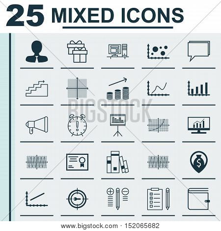 Set Of 25 Universal Editable Icons For Statistics, Project Management And Airport Topics. Includes I