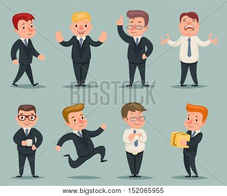 Different Positions Actions Businessman Character Icons Set Retro Cartoon Design Vector Illustration