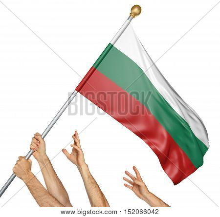 Team of peoples hands raising the Bulgaria national flag, 3D rendering isolated on white background
