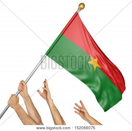 Team of peoples hands raising the Burkina Faso national flag, 3D rendering isolated on white background