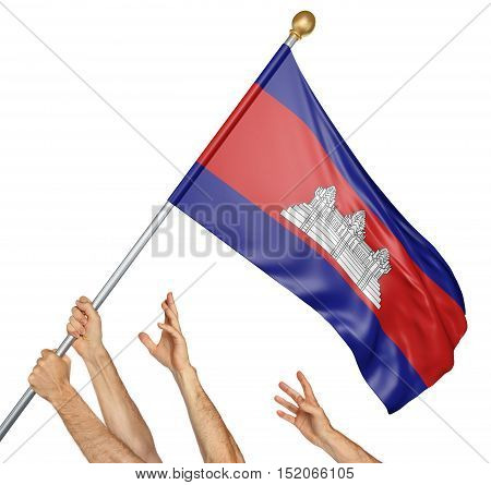 Team of peoples hands raising the Cambodia national flag, 3D rendering isolated on white background