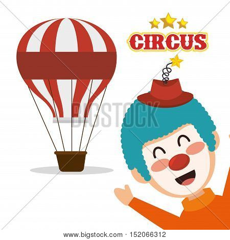 air balloon and clown smiling cartoon circus character over white background. colorful design. vector illustration