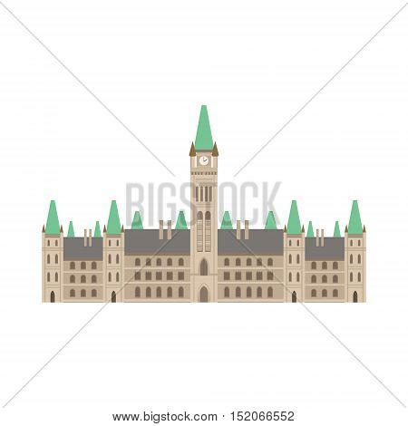 Parliament Building As A National Canadian Culture Symbol. Isolated Illustration Representing Canada Famous Signature On White Background