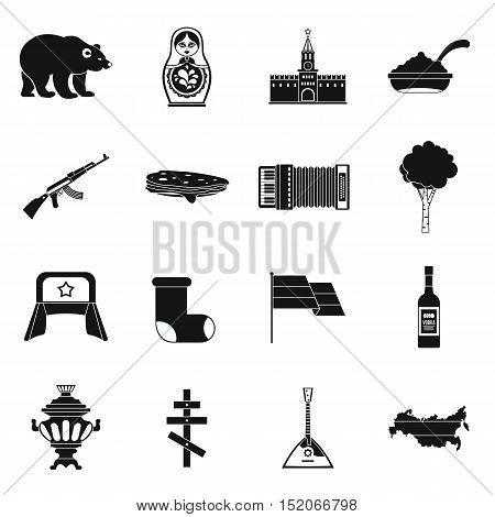 Russia icons set. Simple illustration of 16 Russia vector icons for web